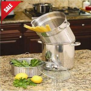 8 Quart Stainless Steel 4 Piece Pot Spaghetti Pasta Cooker Steamer Cooking Set