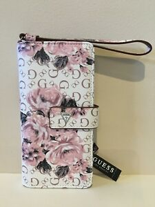 GUESS Womens White Floral Print Faux Leather Logo Smartphone Wristlet Wallet NEW