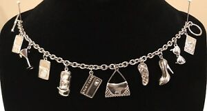 Vintage Brighton Sterling Silver Charm Bracelet With 10 Charms Retired