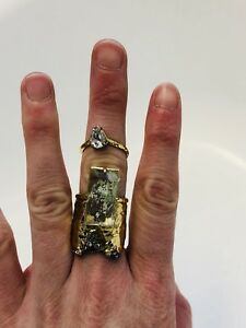 Alexis Bittar Gold Plated Lucite Crystal Statement Cocktail Double Ring