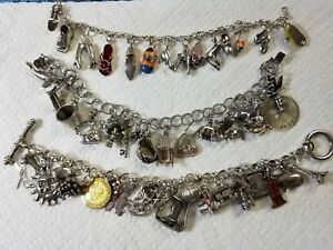 Vintage Solid Sterling Silver Charm Bracelets Disney moveable 50 Charms 150 GR.