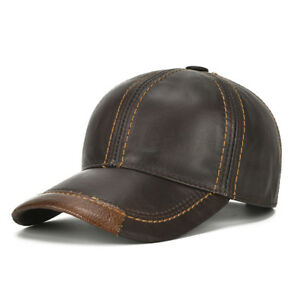 Mens Cowhide Leather Solid Baseball Cap Casual Sunshade Sport Adjustable Snap...