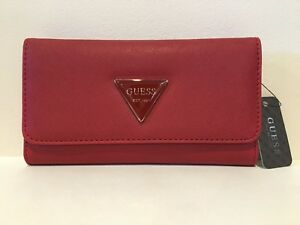 GUESS Womens Red Faux Leather Tri-Fold Slim Logo Cards Cash & I.D. Wallet NEW