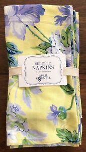 APRIL CORNELL Set of 12 YELLOW BLUE LAVENDER Dinner Napkins FLORAL Cotton NWT