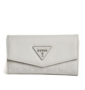 GUESS Womens Grey Logo Embossed Faux Leather Slim Tri-Fold Wallet NEW