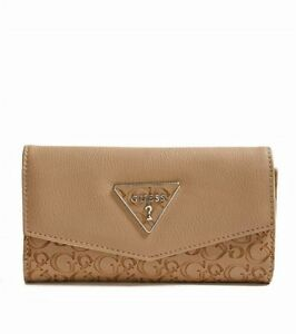 GUESS Womens Brown Logo Embossed Faux Leather Slim Tri-Fold Wallet NEW