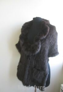 Women's Genuine Sable Fur Knitted Stole Cape Shawl with Pockets SALE Ladies
