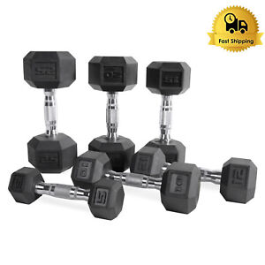 Pair of Black Rubber Coated Hex Dumbbells Iron Metal 2 Free Weights Gym Lot Set