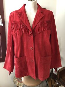 Denim And Co. Size 1x Red Suede Leather Jacket Plus Size (Western Cowboy Style)