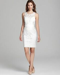 Sue Wong Womens Embroidered Sleeveless Cocktail Dress White 12