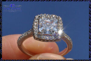 2Ct Princess-Cut VVS1 Diamond Halo Brilliant Engagement Ring 10K White Gold Over