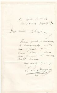 Handwritter Letter Signed by Isaac Israel Hayes in 1875 w COA
