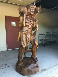 7 FOOT TALL VINTAGE HAND CARVED ONE PIECE MAHOGANY INDIAN STATUE WITH DEER