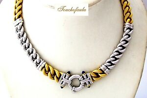 18K Two Tone Magnificent Necklace 17 inches with designer clasp 68.7 grams.