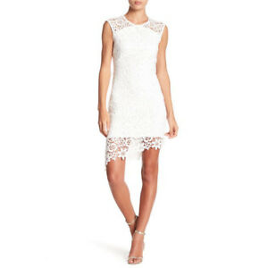 BEBE White Sleeveless Lace Asymmetric Dress Cocktail Party Wedding 12 NWT $129