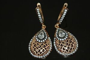 Turkish Ottoman 0.25 Ct Topaz 925 Sterling Silver Rose Gold Pear Earrings