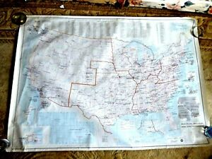 VINTAGE  GIANT MAP USA MILITARY INSTALLATIONS SECOND ARMY HAWAII VIRGINIA 1985