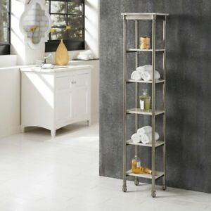 Storage Furniture Bookcase 60 in. H x 11 in. D x 13 in. W Open Back Metal Marble
