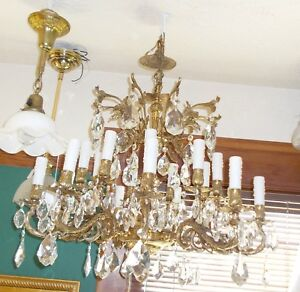 Spectacular Antique Spanish Ornately Embossed & Dressed 18 Candle Chandelier