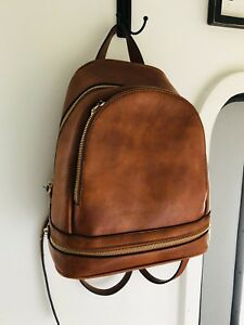 Brown Leather Leather backpack Purse