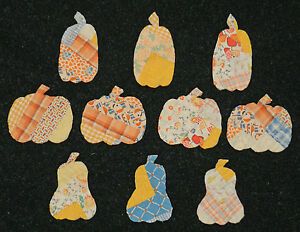 10 PRIMITIVE ANTIQUE CUTTER QUILT PUMPKINS 3 Shapes! FallAutumn Scrapbooking! 4