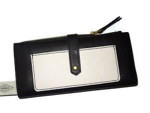 Fossil women's Keely tab clutch Black & Soft White Leather envelope Wallet