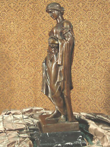 * Rich Bronze Metal Statue on Marble Base Classical Roman Lady Goddess Sculpture