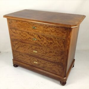 Gründerzeit Era Dresser Solid Pear Wood Vintage Design Changing Table Drawers
