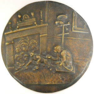 FABLE OF THE MONKEYTHE CAT AND THE CHESTNUTS huge cast bronze about 9 1 2 ins $275.00
