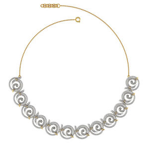 Natural Diamond Pave Designer Necklace Solid 14k Yellow Gold Handmade Jewelry