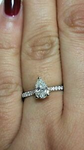 1.25 TW White Gold Pear Shape & Round Brilliant Diamond Design Engagement Ring