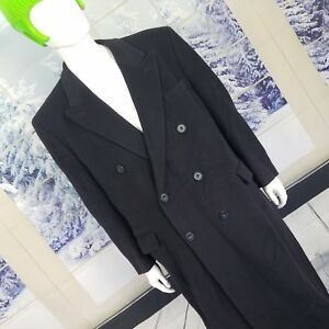 Black CASHMERE Trench Coat Double Lambswool LONG Button By Holt Renfrew Sz 50