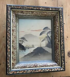 Japanese Print Framed Antique With Gold Accents $50.00