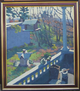 Don Wynn Porch and Backyard Autumn Oil Painting
