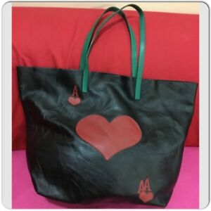 Red Valentino Women's Soft Leather Red Heart Cards Decorated Tote Shoulder Bag