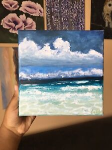 8inx8in Stormy Seascape Original Acrylic Painting $30.00