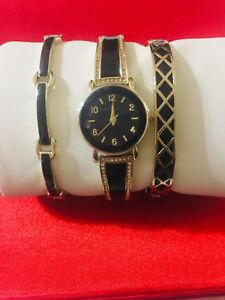 NEW ANNE KLEIN WATCH LADIES SWAROVSKI CRYSTAL ACCENTED WATCH AND BRACELET SET