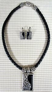 Necklace & Earring Set Black Braided Silver Colored Charms Pendant Southwestern