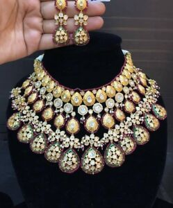 Bollywood High Quality Red Gold Kundan Bridal Choker Necklace Jewelry Ad CZ Set