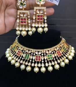 Bollywood High Quality Red Green Kundan Bridal Choker Necklace Jewelry Ad CZ Set