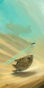ACME ARCHIVES STAR WARS GICLEE ON CANVAS BY ROB KAZ quot;STAY LOWquot; MILLENNIUM FALCON $249.99