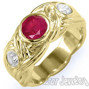 Men's Genuine Ruby And Diamond Ring 18k Solid Yellow Gold Sizes 8 to 14 #R1345