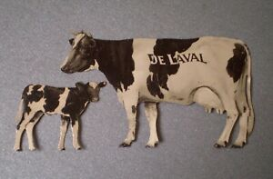 Antique Old Tin De Laval Advertising Holstein Cow and Calf ~ Excellent Condition