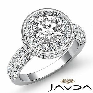 1.7ct Round Diamond Engagement Designer Filigree Ring GIA F VVS2 14k White Gold