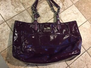 Coach Purple Patent Leather Tribeca Purse Shoulder Bag Tote Handbag 14123