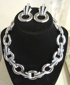 GIVENCHY Statement Runway Necklace Earring SET Black Enamel Silver Rhinestone