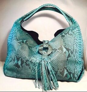 CLEARANCE Handmade Python Snake Leather Women Designer Fashion Blue Handbag AU