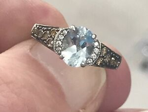 Estate LeVian Aquamarine And Chocolate Diamond Ring 14k White Gold SZ 5.25