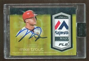 2018 Topps Dynasty MIKE TROUT GOLD Laundry Tag Majestic Patch Auto Sealed 11