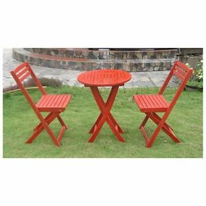 Acacia Wood 3-Piece Red Folding Patio Bistro Set Outdoor Decor Weather Resistant